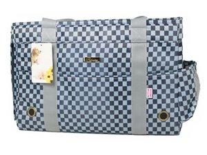 Purse Plaid Tote Sided Fleece Cat Dog Bag Pads Carrier Blue With Pet Handbag Soft Small Portable Travel For Pets Eslni Kifao