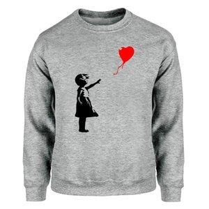 World Peace Sweatshirts Men Kcco Balloon Girl Banksy Love Crewneck Sweatshirt Hoodies Winter Autumn Fleece Warm Gray Streetwear