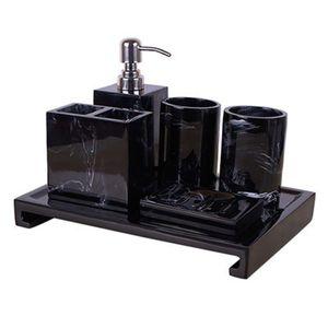 Black Marble Pattern Tray Resin Bathroom Set Toothbrush Holder Soap Dispenser Soap Dish Men's Bathroom Accessories Set Home Deco