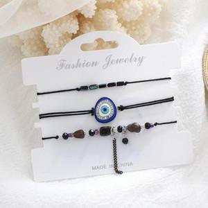 3 Pçs / set Turkish Mal Eye Lucky Kabbalah Bracelete Kit Ajustável Azul Mal Eye Beads Luck Pulseira Jóias Unisex
