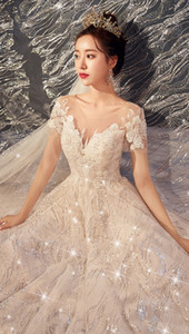 Gorgeous Sexy A-line V-neck Sequins Formal Wedding Gowns Long Sweep Train Tulle Empire Waist Appliques Lace Up Ruched Wedding Dresses