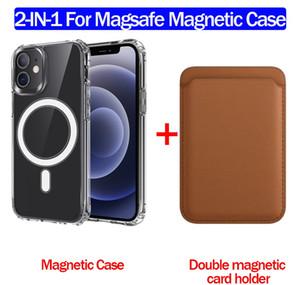 القضية المغناطيسية لشاحن Magsafe مع حالة Magsafe + محفظة جلد مغناطيسي Magsafe Card Hold for iPhone 12 Pro Max Mini iPhone 11 Pro Max