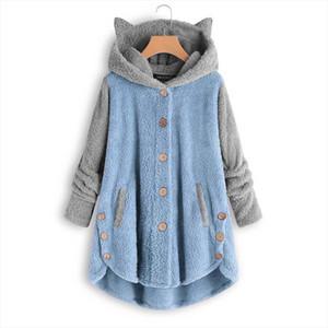 Cat Ear Hoodies Women Plus Size Fluffy Plush Button Long Hooded Sweatshirt Loose Warm Hoody Polerones Mujer Women Vintage Hoodie