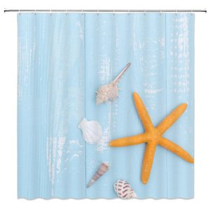 Marine life theme Shower Curtains Conch Shell Starfish Blue Background Bathroom Decor Waterproof Cloth Curtain Set