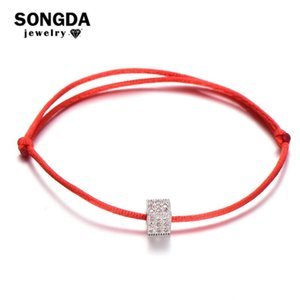 SONGDA Simple Crystal Zircon Cube Bead Red Thread String Bracelet Handmade Adjustable Rope Bracelet for Women Men Couple Jewelry