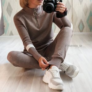 Lurex Women Sweater Suits and Set Casual Knitted Sweaters Pants 2PCS Track Suits Zipper Women Trousers+Jumpers Top Clothing Sets