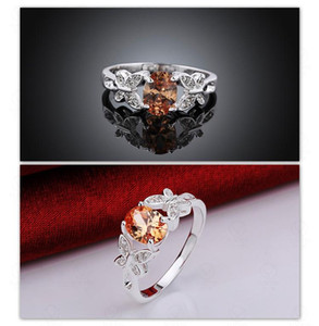 Rings Diamond Engagement Wedding 925 Sterling Silver Plated Cubic Zirconia Austrian Crystal Gemstone Rings