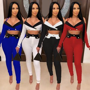 Women Two Piece Outfit Skinney Panelled Long Sleeve Sling Exposed Navel Suit Fashion Casual Female Clothing