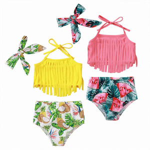 INS Bohemia girls swimsuits beach baby swimsuit girls swimwear baby swimwear Swim Suits Bikini tassels tank+shorts+headbands 3pcs set B3746