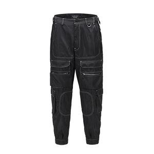 Origianl Multi-Taschen Glatt Schwarz Cargo Pants Mens Zipper Fly Street Beiläufiges Boom Feet Baggy Trousers Hip Hop Track Pants