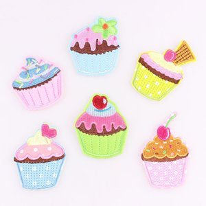 6pcs set Colors Lovly Ice Cream cupcake Applique Embroidery Iron Patch Sew On Patches Craft Sewing Repair Embroidered
