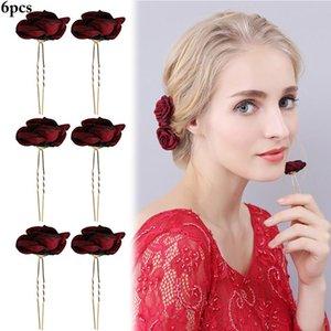 6pcs Fashion Wedding Hair Pin Fake Flower Rose U Shaped Bridal Hairpin Stick Hair Fork Stick Headwear Clip for Women Girls