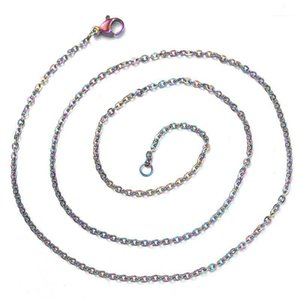 5pcs lot Rainbow Colored Color Chain Necklace Stainless Steel Snake Chain With Lobster Clasp Twist DIY Necklace 50cm1