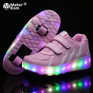 Size 28-43 Luminous Sneakers with Double Wheel for Children Boys Glowing Roller Skate Shoes Kids Girls LED Lights Wheel Sneakers