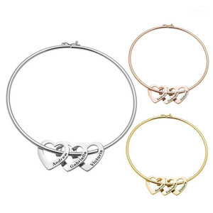 Minimalist Love Heart Name Engraved Stainless Steel Fine Bracelet Bangle Jewelry Gift For Charm Women Party Fashion Accessories1