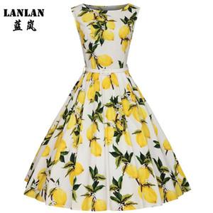 LANLAN XS-4XL Zitronendruck Swing 1950er Jahre Kleid 2021 Zitronendruck Midi Lang Vintage Tutu Kleider Frauen Plus Size Sommerkleid