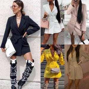 Abiti da donna Blazer Donna Slim Blazer Giacca Giacca Asciuga Nero Bianco Femminile 2021 Autunno Ufficio Lady Giacche Pocket Elegante albicocca Outwear