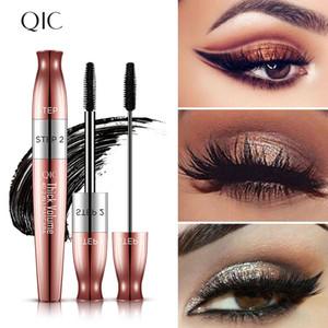 QIC Thick Volume 4D Mascara Double Mascara Cruling Lengthening Rose Gold Plating Natural Non-Smudge Cosmetic Makeup Black Mascara Eyelash