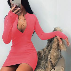 Frauen-Kleid Designer dünner reizvolle Fest Farbe Herbst-Winter-Trend Langarm-Kleid Versatile Ausschnitt Reißverschluss-Verpackungs-Hip Fashion Rock
