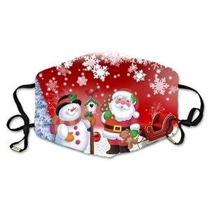 Bonhomme de neige unisexe nouvelle adulte 3d Christmas Party Imprimé Funny Face Masques anti-poussière lavable réutilisable de protection Mascarilla Masque