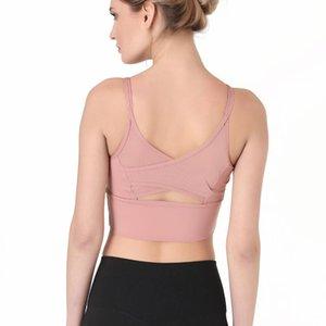 Pure Color Thin Shoulder Straps Cross Beautiful Back Sports Underwear Yoga Wear Women's New Open Back Mesh Fitness Bra