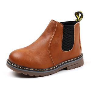 Botas de SKOEX niños alineado piel Zapatos Niño Niña impermeable cremallera lateral corto del tobillo botas de nieve de invierno de los niños del bebé de los botines Martin C1002