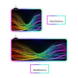 RGB أدى ضوء تنفس النسيج الوسادة الماوس 14 الأنوار أضواء تعديل لوحة المفاتيح سطح المكتب مضاد للانزلاق لعبة حصيرة