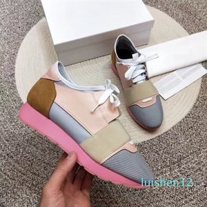 2019 Luxury Designer Sneaker Man Casual Shoes Genuine Leather Mesh Pointed Toe Race Runner Shoes Outdoors Trainers Withl12