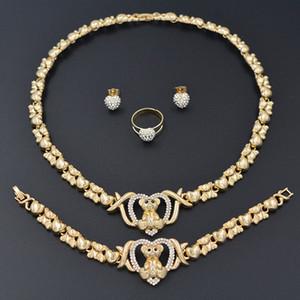 Valentine's Day Gifts for girlfriends zircon jewelry necklaces 14K gold bracelets womens jewelry Wedding braclets earrings for women set