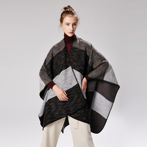 Fashion thickened autumn and winter rainbow wide strip dual purpose lengthened air conditioning warm imitation cashmere cape