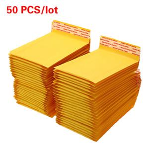 Kabarcık Posta Çantası Paketi Çanta ile 50 ADET / Lot Kraft Kağıt Kabarcık Zarflar Çanta Postaları Yastıklı Kargo Zarf