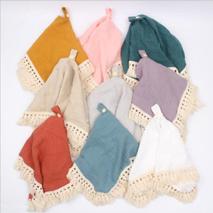Baby Security Blankets Cotton Gauze Shower Gift Solid Tassel Pacifier Pendant Soft Baby Soothing Towels Toddler Wash Towel Washcloth B7707