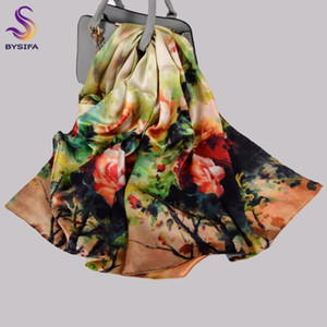 [BYSIFA] New Pure Silk Scarf Shawl Women Chinese Green Pink Peony Long Scarves Wraps Winter Hijabs Luxury Female Neck Scarf Cape