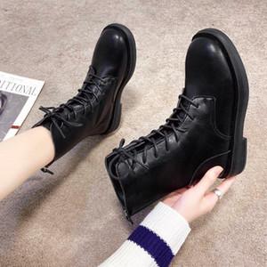 Martin Boots Womens Autunno Autunno e Winter PU Boots Boots PU a bassa cerniera a colori solido Plus Cashmere Casual Donne