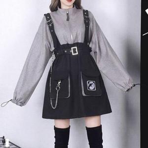 2020 rétro vintage femmes gothiques filles punk mini robe haute taille manches longues chapeau collier sexy gry noir lolita plus taille jurken
