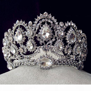 Korean style rhinestone queen wedding big crown and tiaras hot bridal crystal tiara hair jewelry accessories