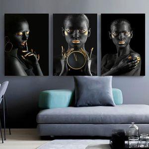 Schwarzer Gold Nude Afrikanische Kunst Frau Ölgemälde auf Leinwand Cuadros Poster und Drucke Skandinavische Wandbild für Wohnzimmer