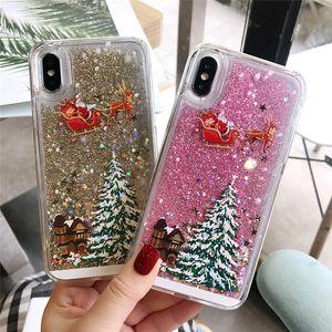 Caja del teléfono del brillo Estrellas arena movediza árbol de Navidad de Santa Claus para el iphone 5 X 8 6S 7 Plus 11 12 Pro Max contraportada