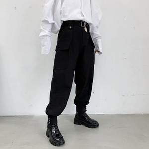 New Male Vintage Hip Hop Pocket Harem Trousers Stage Clothing Kimono Pant Men Japan Streetwear Punk Gothic Casual Pant