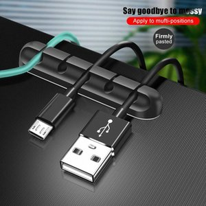 Porte-câble USB Organisateur de câble de silicone Gestion de l'enroulement flexible 5 clips Titulaire de la souris Ecouteur de casque # RO2H