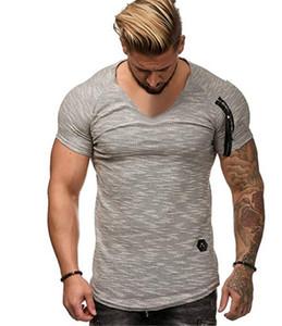 V Yaka Fermuar Erkek Nedensel T-Shirt Yaz Katı Renk 3 Renkler Seçenek Erkekler Tasarımcı Gevşek Tops Spor Tees