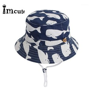 Imcute Primavera y verano 2020 New Children's Bucket Hat Hat Hat Hat Niños Ocean Beach Outdoor Big Whale Dibujos Animados Sun1
