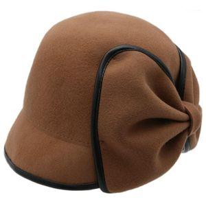 Hot KF-Women's Wood's Fedora Chapeau Décorée Cravate Arc Fedora Femelle Béret Fisherman Hat1
