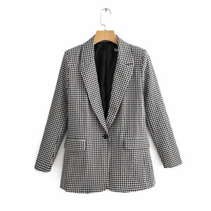 New Women Vintage Black White Plaid Print Casual Blazer Office Lady Retro long sleeve outwear suits chic leisure coat LJ201021