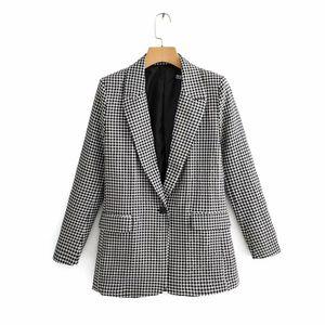New Women Vintage Black White Plaid Print Casual Blazer Office Lady Retro long sleeve outwear suits chic leisure coat LJ201021