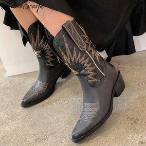 Buono Scarpe Broder Femmes Bottes Med Heels Retro Knight Bottes Femelle Cuir Véritable Botas Mujer Western Cowboy Bottes T200425