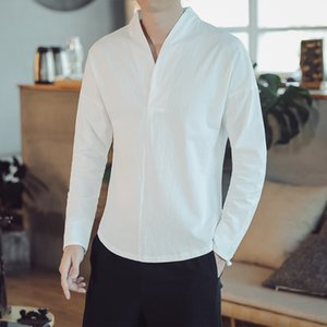 MrGoldenBowl Store Autumn Men Oversize Long Sleeve Solid Shirts Mens Chinese Style Cotton Linen Clothes Male V-neck Shirt 201020