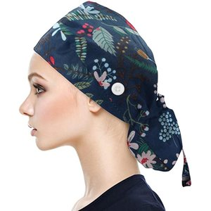 1pc Cap With Buttons Bouffant Leaves Print Hat With Sweatband For Womens And Mens Women's Winter Beanies Gorros Mujer Invierno