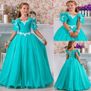 Chiffon Beaded Flower Gilr Dresses for Wedding Bows Lace Vintage Little Girl Bridal Wears Beautiful Child Pageant Gowns
