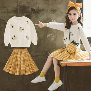 Autumn Kids Girls Clothes Set Pineapple Pattern Sweater + Plaid Ball Gown Dress 2pcs Long Sleeve Clothing Sets